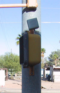 Figure 1-2. Pedhead-mounted APS; APS speaker mounted on top of pedestrian signal head